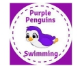 Purple Pengiuns Swimming